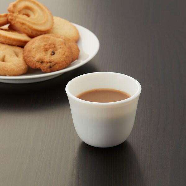 LJUMMEN Kava cup, glass/opal white, 7 cl