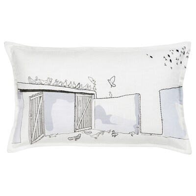 LOKALT Cushion cover, white lilac/handmade, 65x40 cm