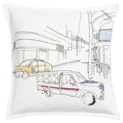 LOKALT Cushion cover, white yellow/handmade, 50x50 cm