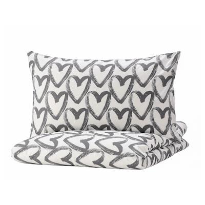LYKTFIBBLA Duvet cover and 2 pillowcases, white/grey, 240x220/50x80 cm