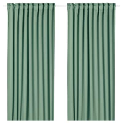 MAJGULL Block-out curtains, 1 pair, green, 145x300 cm