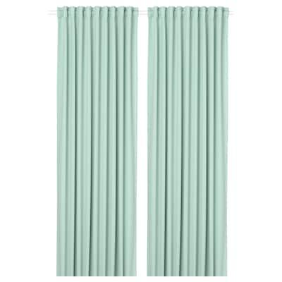 MAJGULL Room darkening curtains, 1 pair, light green, 145x300 cm