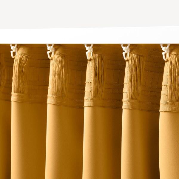 MAJGULL ستائر عاتمة للغرفة، 1 زوج, أصفر, 145x300 سم