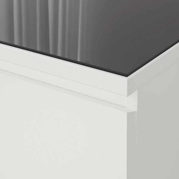MALM Glass top, transparent grey, 80x48 cm