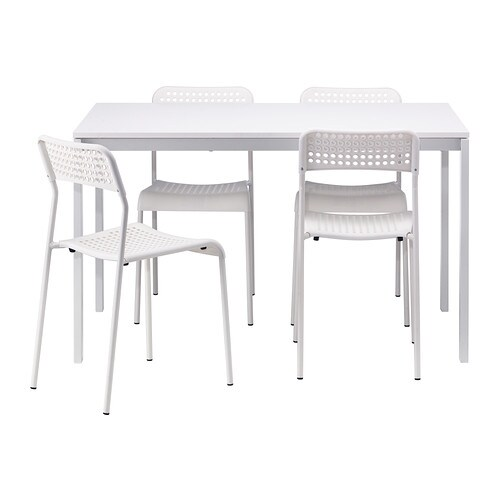 MELLTORP / ADDE Table and 4 chairs   The melamine table top is moisture resistant, stain resistant and easy to keep clean.  Seats 4.
