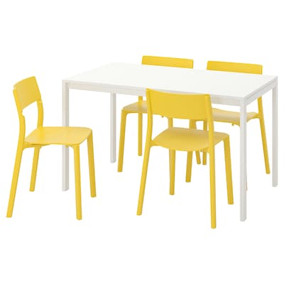 MELLTORP / JANINGE Table and 4 chairs, white/yellow, 125 cm