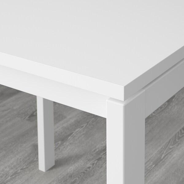 MELLTORP / JANINGE طاولة و4 كراسي, أبيض/أصفر, 125 سم