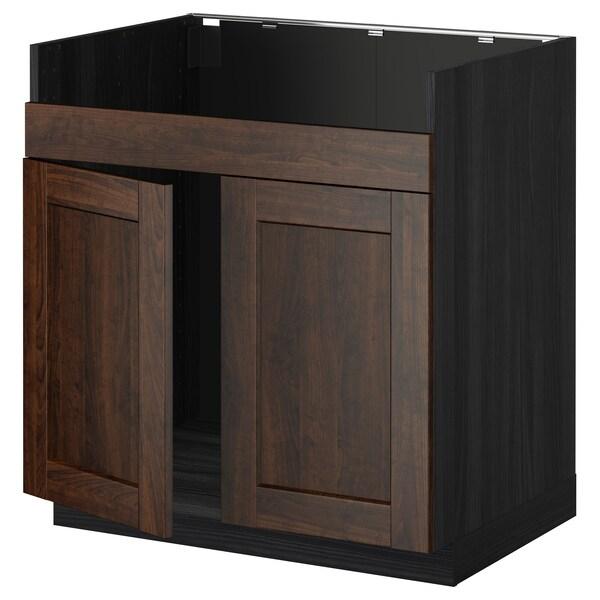 METOD خزانة قاعدة لحوض مزدوج HAVSEN, أسود/Edserum بني, 80x60 سم