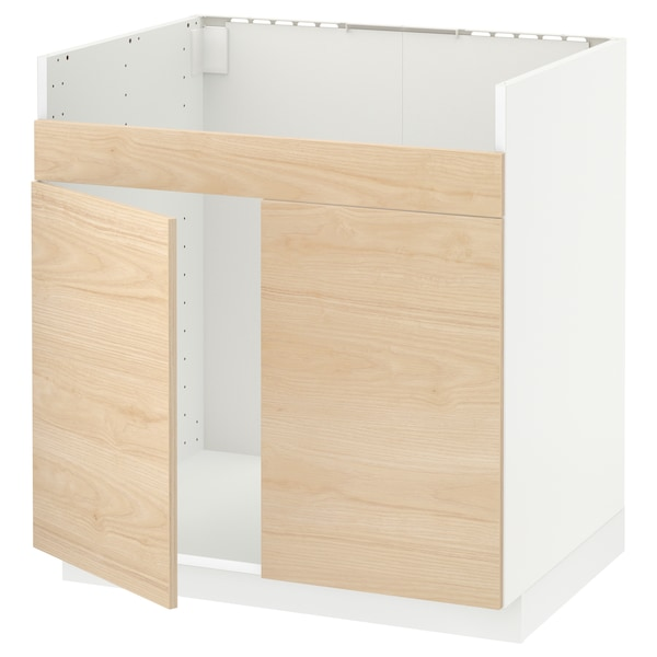 METOD خزانة قاعدة لحوض مزدوج HAVSEN, أبيض/Askersund مظهر دردار خفيف, 80x60 سم