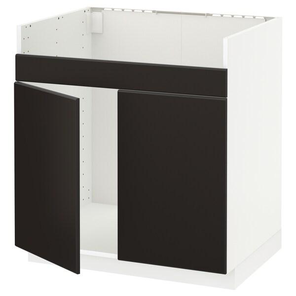 METOD خزانة قاعدة لحوض مزدوج HAVSEN, أبيض/Kungsbacka فحمي, 80x60 سم