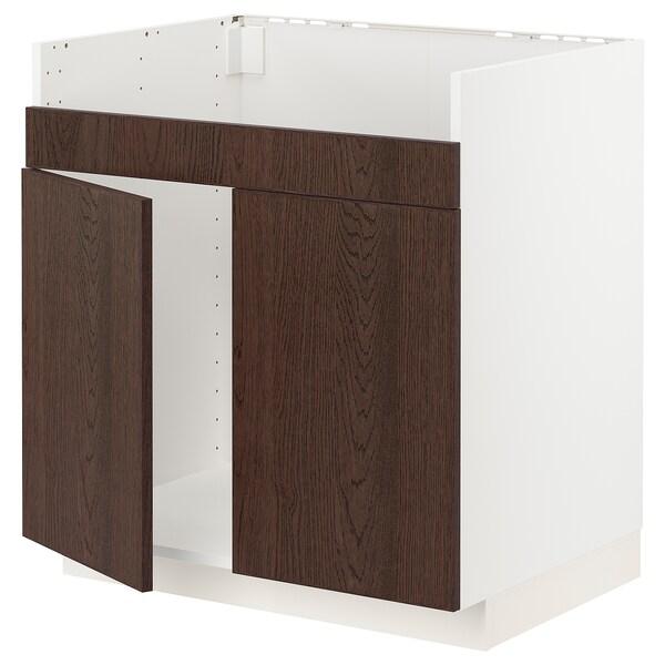 METOD خزانة قاعدة لحوض مزدوج HAVSEN, أبيض/Sinarp بني, 80x60 سم
