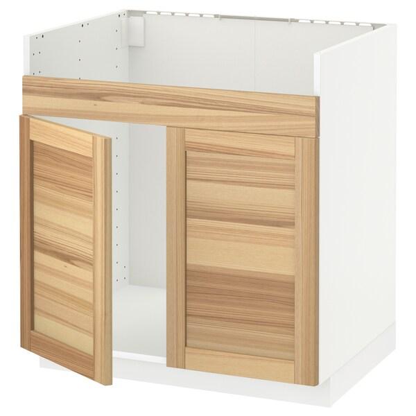 METOD خزانة قاعدة لحوض مزدوج HAVSEN, أبيض/Torhamn رماد, 80x60 سم