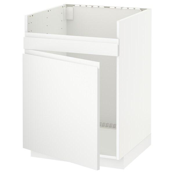 METOD Base cab f HAVSEN single bowl sink, white/Voxtorp matt white, 60x60 cm