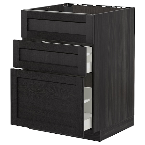 METOD Base cab f sink+3 fronts/2 drawers, black/Lerhyttan black stained, 60x60 cm