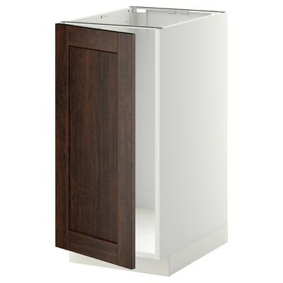 METOD خزانة قاعدة لحوض/فرز نفايات, أبيض/Edserum بني, 40x60 سم