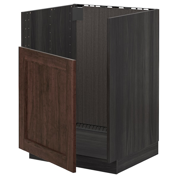METOD Base cabinet f BREDSJÖN sink, black/Edserum brown, 60x60 cm