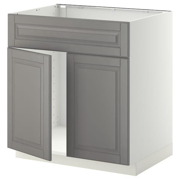 METOD Base cabinet f sink w 2 doors/front, white/Bodbyn grey, 80x60 cm