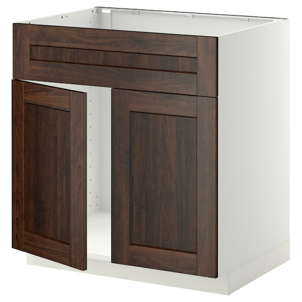 METOD Base cabinet f sink w 2 doors/front, white/Edserum brown, 80x60 cm