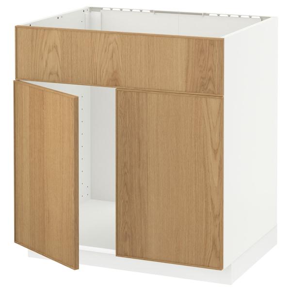 METOD Base cabinet f sink w 2 doors/front, white/Ekestad oak, 80x60 cm
