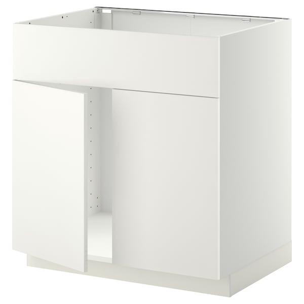 METOD Base cabinet f sink w 2 doors/front, white/Häggeby white, 80x60 cm