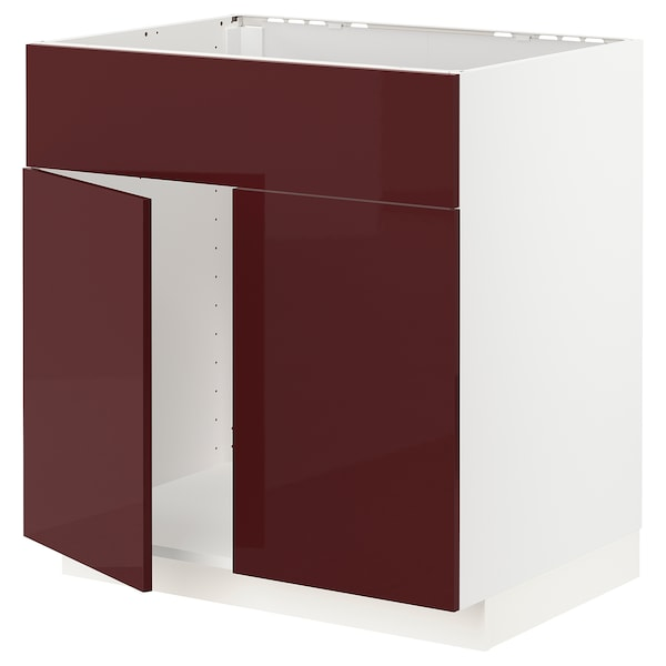 METOD Base cabinet f sink w 2 doors/front, white Kallarp/high-gloss dark red-brown, 80x60 cm