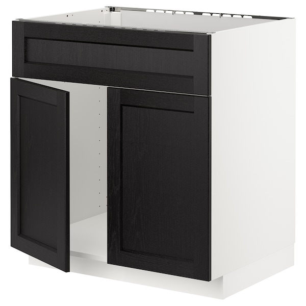METOD Base cabinet f sink w 2 doors/front, white/Lerhyttan black stained, 80x60 cm