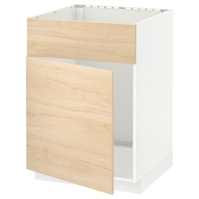 METOD خزانة قاعدة لحوض مع باب/واجهة, أبيض/Askersund مظهر دردار خفيف, 60x60 سم