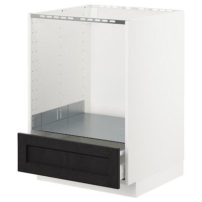 METOD خ. قاعدة لفرن مع درج, أبيض/Lerhyttan صباغ أسود, 60x60 سم