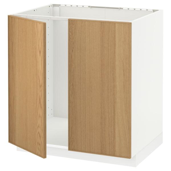 METOD خزانة قاعدة للحوض + بابين, أبيض/Ekestad سنديان, 80x60 سم