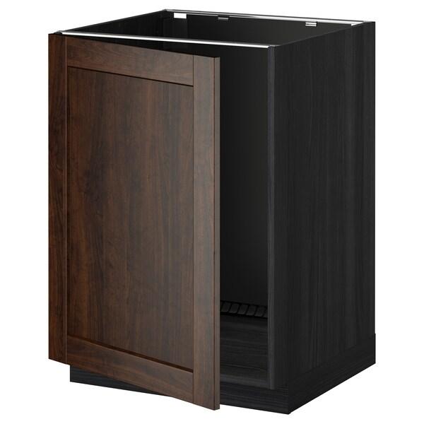 METOD Base cabinet for sink, black/Edserum brown, 60x60 cm