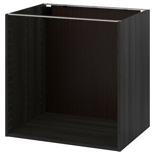 METOD اطار خزانة قاعدية, مظهر الخشب أسود, 80x60x80 سم