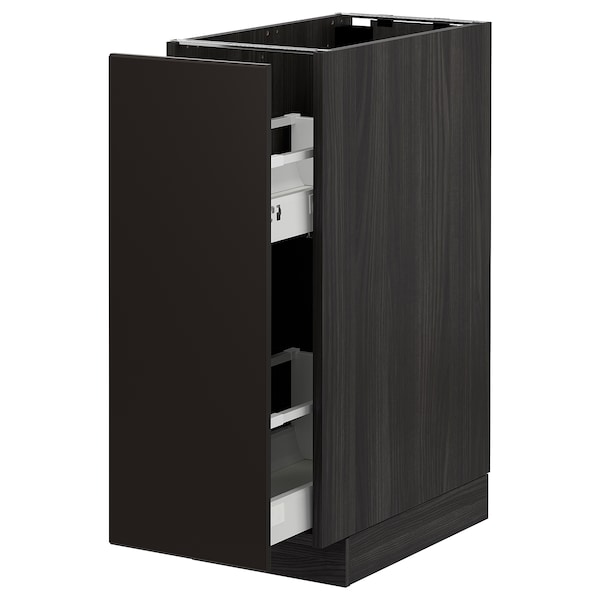 METOD Base cabinet/pull-out int fittings, black/Kungsbacka anthracite, 30x60 cm