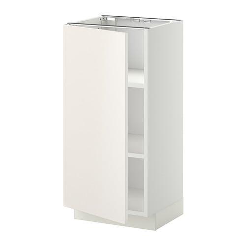 METOD Base cabinet with shelves, white, Veddinge white