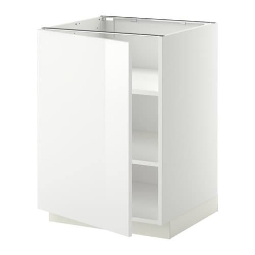 Metod Base Cabinet With Shelves White Ringhult High Gloss 60x60 Cm Ikea