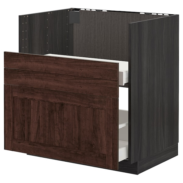 METOD Bc f BREDSJÖN sink/2 fronts/2 drws, black/Edserum brown, 80x60 cm
