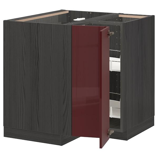 METOD خزانة قاعدة ركنية مع درج دوار, أسود Kallarp/لامع أحمر-بني غامق, 88x88 سم