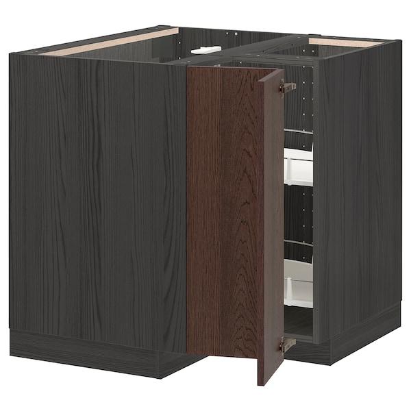 METOD خزانة قاعدة ركنية مع درج دوار, أسود/Sinarp بني, 88x88 سم