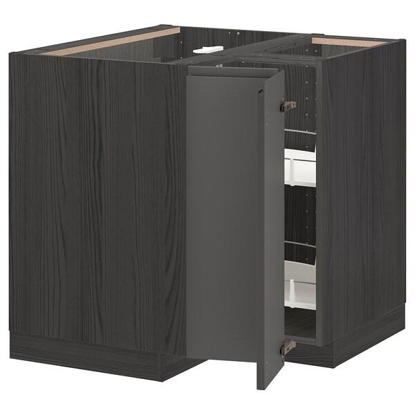 METOD خزانة قاعدة ركنية مع درج دوار, أسود/Voxtorp رمادي غامق, 88x88 سم