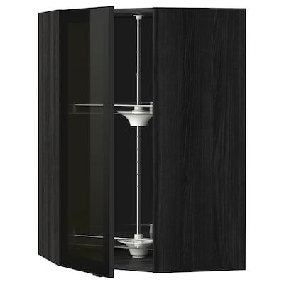 METOD Corner wall cab w carousel/glass dr, black/Jutis smoked glass, 68x100 cm