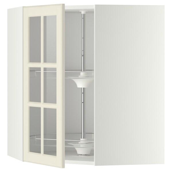 METOD خ. حائط زاوية+رف دوّار/ب. زجاجي, أبيض/Bodbyn أبيض-عاجي, 68x80 سم