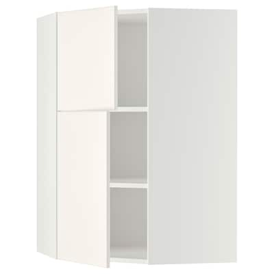 METOD Corner wall cab w shelves/2 doors, white/Veddinge white, 68x100 cm