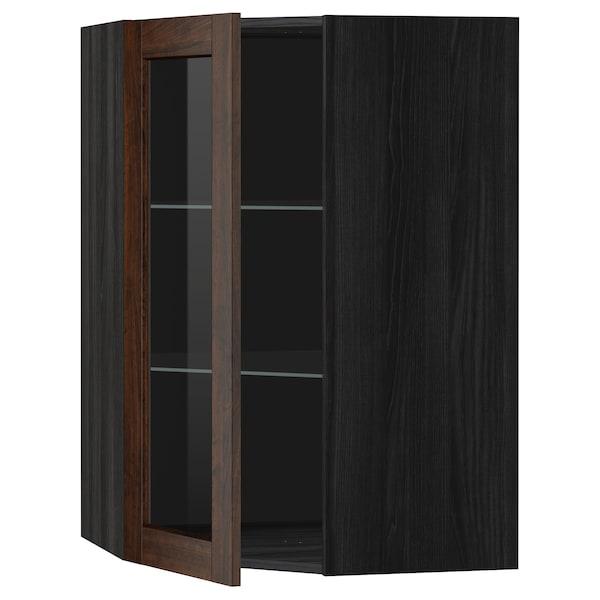 METOD Corner wall cab w shelves/glass dr, black/Edserum brown, 68x100 cm