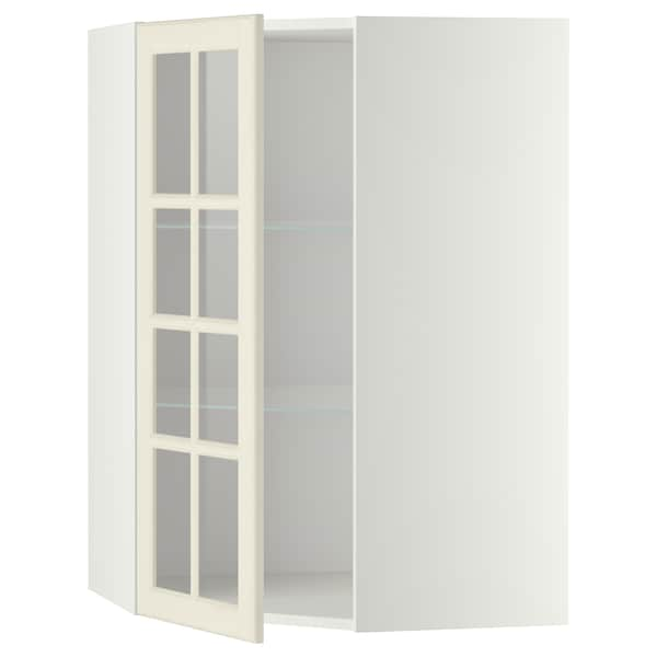 METOD Corner wall cab w shelves/glass dr, white/Bodbyn off-white, 68x100 cm