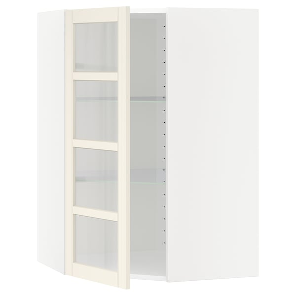 METOD Corner wall cab w shelves/glass dr, white/Hittarp off-white, 68x100 cm
