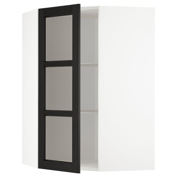 METOD Corner wall cab w shelves/glass dr, white/Lerhyttan black stained, 68x100 cm