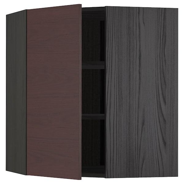 METOD Corner wall cabinet with shelves, black Askersund/dark brown ash effect, 68x80 cm
