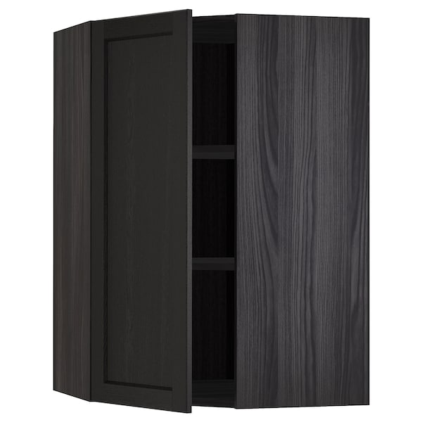 METOD Corner wall cabinet with shelves, black/Lerhyttan black stained, 68x100 cm