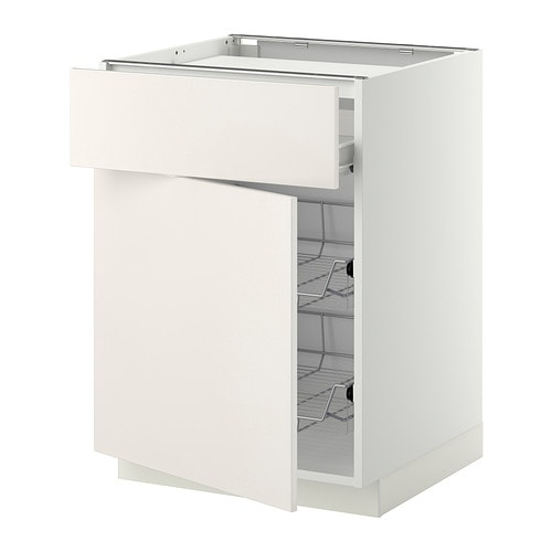 METOD / FÖRVARA Base cab f hob/drawer/2 wire bskts - white ...