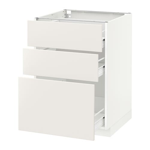 Metod Ikea metod förvara base cabinet with 3 drawers white veddinge white