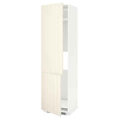 METOD High cab f fridge/freezer w 2 doors, white/Hittarp off-white, 60x60x220 cm